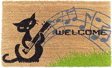 Imports Decor Musical Cat Vinyl Backed Coir Doormat, 30 by 18 by 1/2""