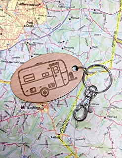 Large Egg Camping Trailer Oval Key Fob