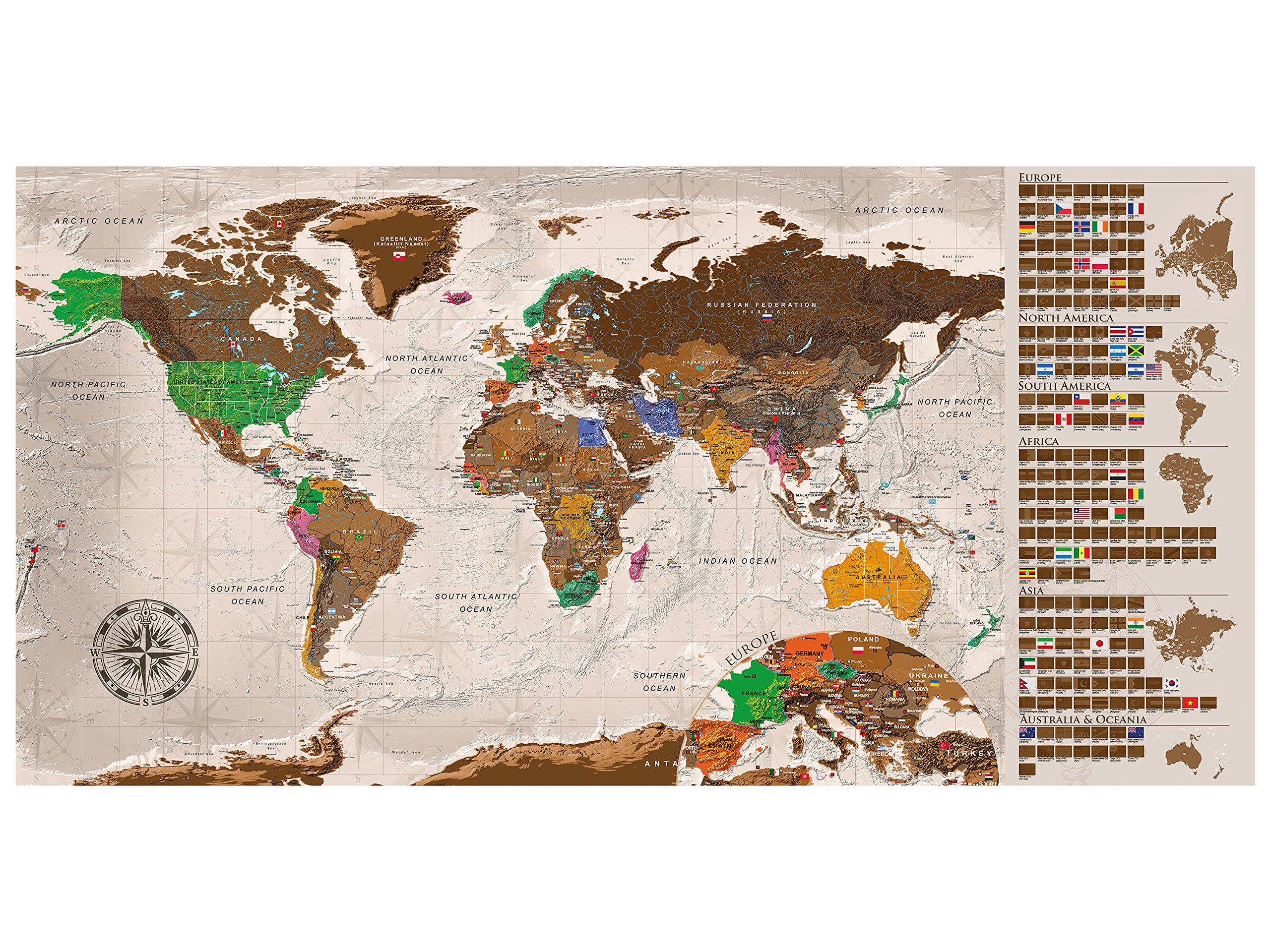 murando Mapamundi para rascar Mapa Mundial 100x50 cm Color: Beige Laminado (Posibilidad de Escribir y borrar) Mapa para rascar con Banderas Mapa del Mundo Macionales k-A-0225-o-b: Amazon.es: Juguetes y juegos