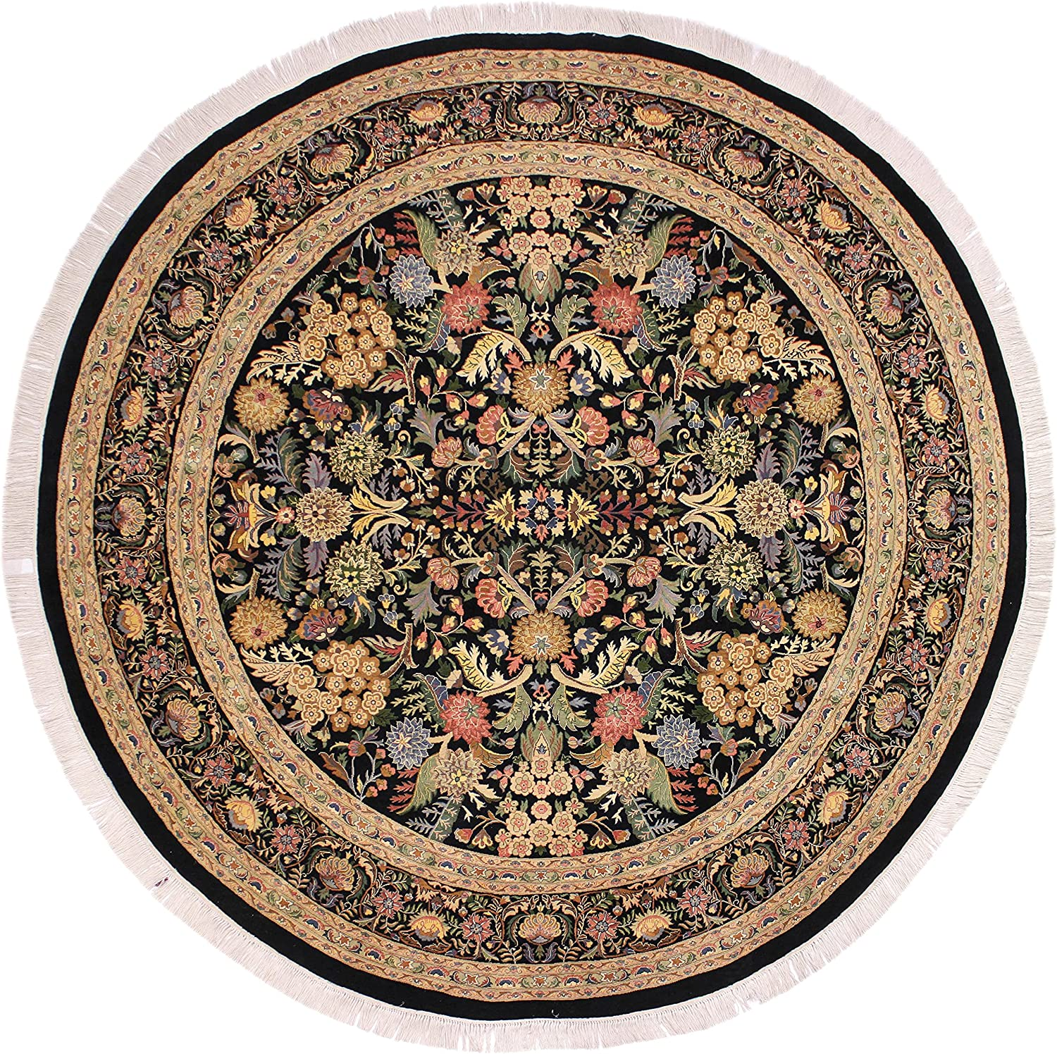 Nagi Pak Persian Camellia Black Gray Wool 9'2'' Round x Japan Limited time for free shipping Maker New 9'0'' -