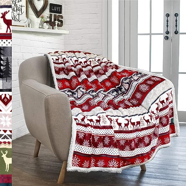 PAVILIA Premium Plush Sherpa Throw Christmas Blanket Soft Warm Cozy Reversible Microfiber Winter Cabin Throw Plaid Holiday Blanket 50 X 60