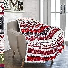 PAVILIA Premium Christmas Sherpa Throw Blanket   Christmas Decoration Reindeers, Fleece, Plush, Warm, Cozy Reversible Microfiber Holiday Blanket 50 x 60