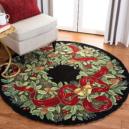 Amazon Com Safavieh Vintage Poster Collection Vp323a Handmade Christmas Wreath Novelty Premium Wool Area Rug 5 X 5 Round Black Green Furniture Decor