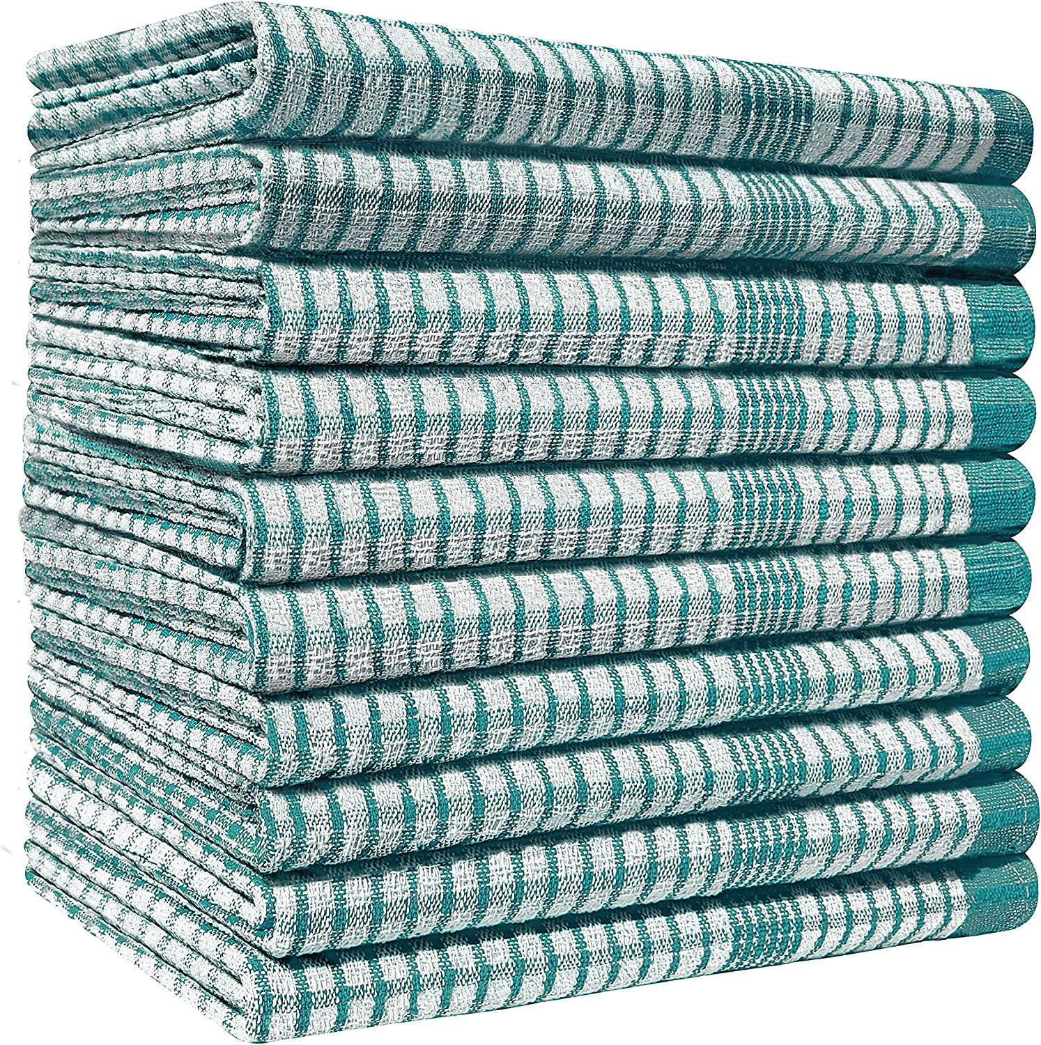 Lint Free Professional Grade WonderDry Checked Cotton Kitchen Tea Towels 80gm//pc Pack of 10 Heavy Duty Absorbent Bar Fade Resistant Catering Restaurant Cloth- 50 x 70 cm Long Lasting