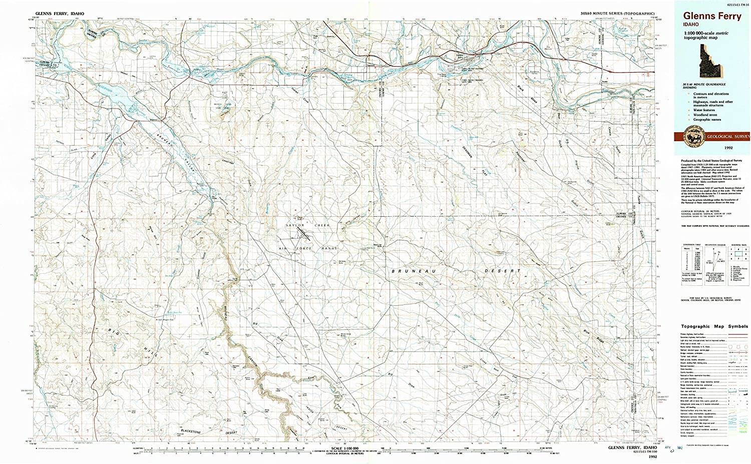 Glenns Ferry ID topo map, 1 100000 Scale, 30 X 60 Minute, Historical, 1992, Updated 1992, 24.1 x 39.9 in
