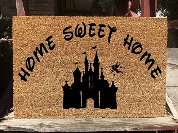 KiwiCraftdom Home Sweet Home With Tinker Bell Castle Disney Inspired Doormat Large Welcome Door Mat Cute Housewarming Gifts Fun Birthday Present
