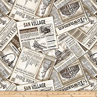 Fabri-Quilt Cityscapes Newspaper Ad Sepia Fabric By The Yard