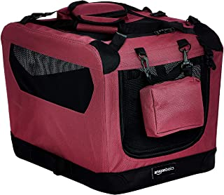 AmazonBasics Premium Folding Portable Soft Pet Dog Crate Carrier Kennel - 21 x 15 x 15 Inches, Red