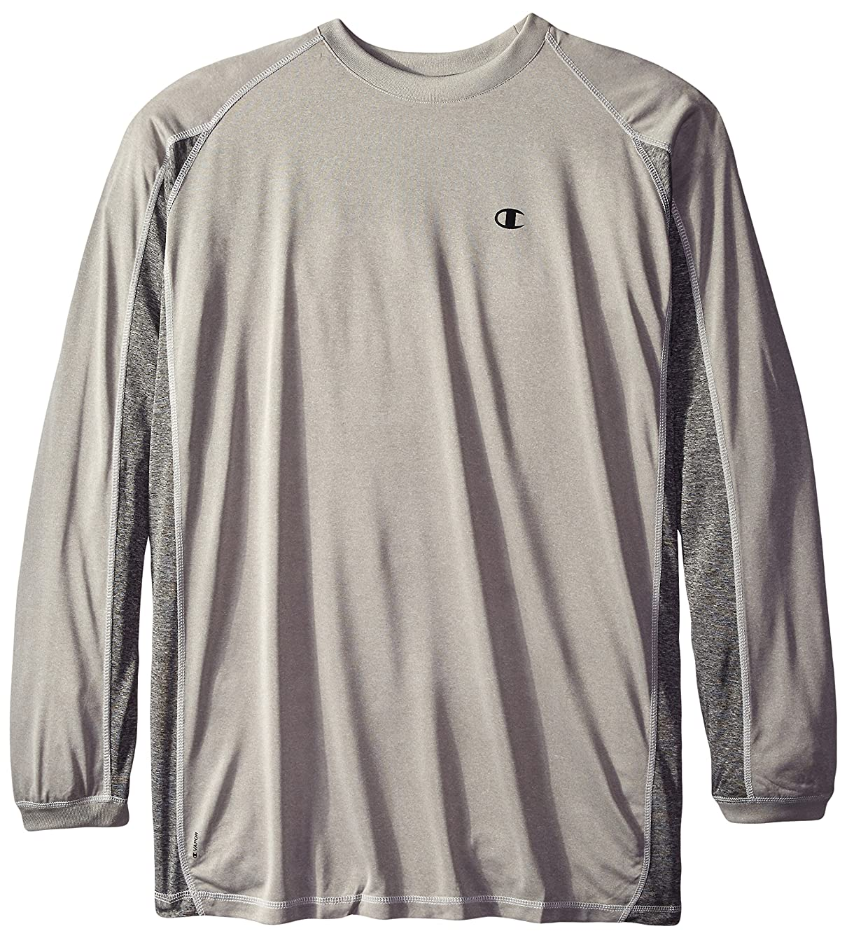 マナー優れたケーキChampion Men's Big-Tall Long Sleeve C Vaport Pieced Active Crew T-Shirt, Heather/Granite, 3X/Tall