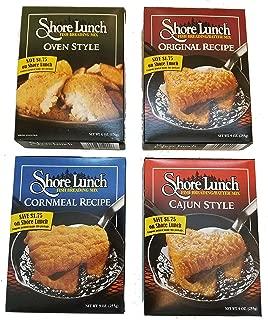 Shore Lunch Fish Breading/Batter 4 Flavor Fish Fry Variety Pack, (1) Each: Original recipe 9 Oz, Cajun Style 9 Oz, Cornmeal Recipe 9 Oz, Oven Style 6 Oz.