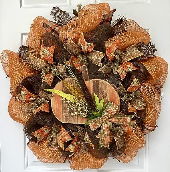 Distressed Wood Country Pumpkin Handmade Deco Mesh Harvest Wreath