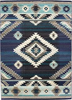 Rugs 4 Less Collection Southwest Native American Indian Area Rug Design R4L 1033 Storm Blue Gray Purple Turquoise Blue (5'X7')