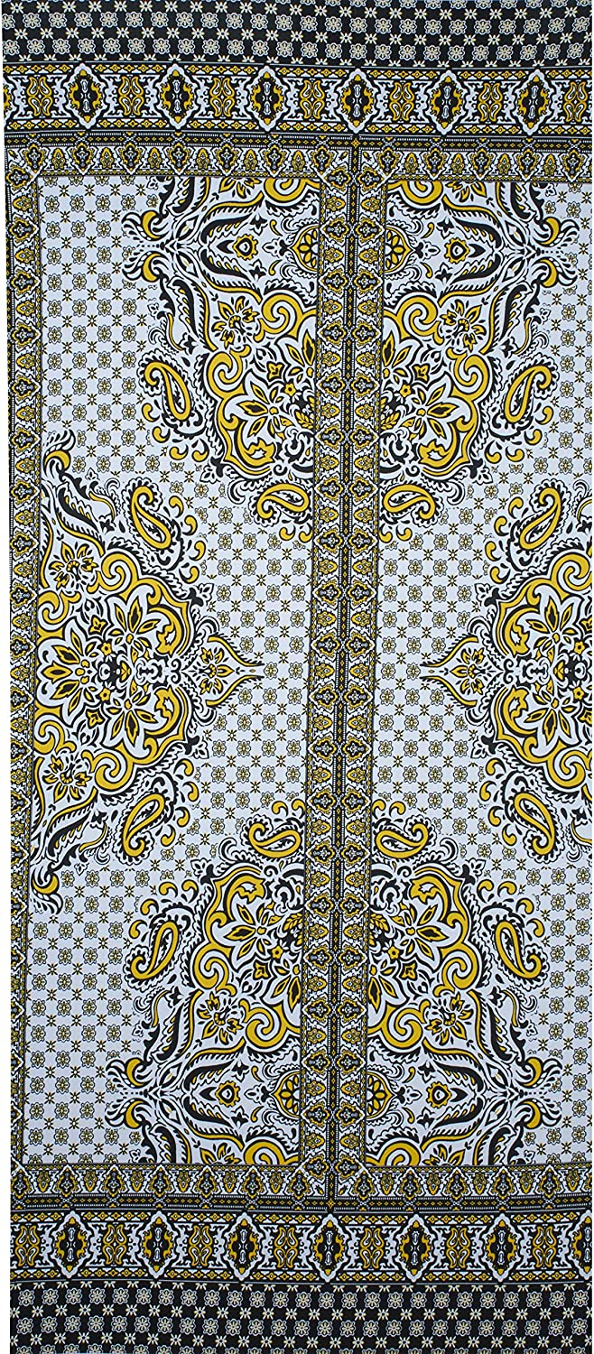 Fabtrends Ity Paisley Floral Border Black Yellow