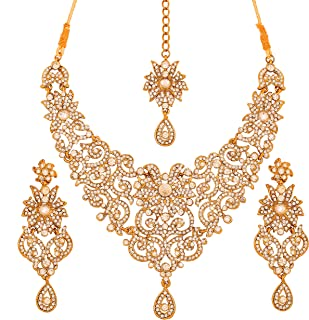 Touchstone gold tone royal Indian Hollywood rhinestones grand bridal jewelry necklace set for women