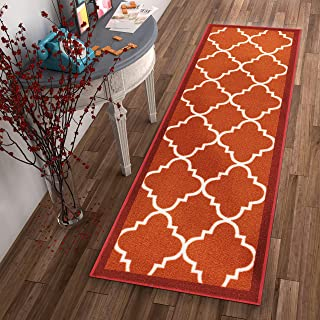 Well Woven Non-Skid Slip Rubber Back Antibacterial 2x7 (2' x 7' Runner) Rug Dallas Moroccan Trellis Rust Red Modern Geometric Lattice Thin Low Pile Machine Washable Indoor Outdoor Kitchen Entry