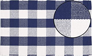 Buffalo Check Rug 21x34 inch -Royal Blue White,Hand Woven 100% Cotton Rug in Buffalo Checkered Paterns, Entry Way Rugs, Farmhouse Rug, Kitchen Rugs,Living Room Rug, Kids Room Rug, Set of 2.