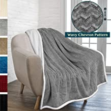 PAVILIA Premium Chevron Sherpa Throw Blanket | Soft Reversible Grey Fleece Blanket Throw | Plush, Fuzzy Throw for Couch Sofa, Lap TV Blanket| Lightweight Microfiber, 50x60 Inches