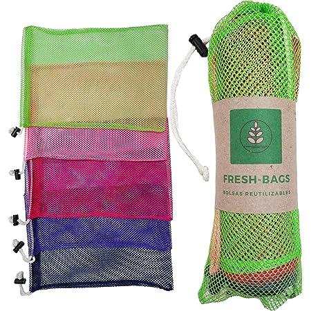 10 Bolsas Ecologicas Reutilizables para Supermercado, Frutas, Verduras, bolsas de malla lavables de 34cm x 24cm