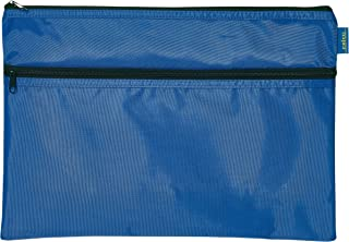 CELCO Stretchy Nylon Double Zip Pencil Pouch, Large, Blue, (30029)