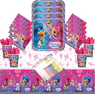 Shimmer and Shine Party Plates Napkins Cups and Table Cover Serves 16 with Birthday Candles - Shimmer ans Shine Party Supplies Pack Deluxe (Bundle for 16)