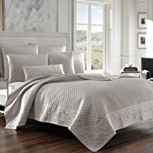Five Queens Court Zarah Satin Damask Embroidered Coverlet Full/Queen, Silver