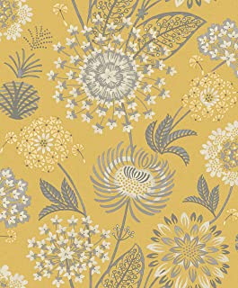 Arthouse 676206 Vintage Bloom Wall Paper/Coverings, Yellow, One Size