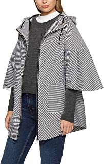 French Connection Women's Stripe Poncho, Black/Summer White, O/S