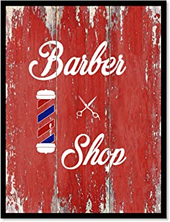 Barber Shop Barber's Pole Quote Saying Canvas Print Home Decor Wall Art Gift Ideas, Black Frame, Red, 13