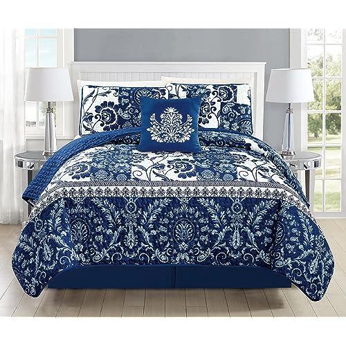 Blue And White Bedspread Amazoncom