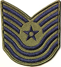 US USAF Air Force Master Technical Sergeant Rank Army Military Pilot Logo Tab Jacket Uniform Patch Sew Iron on Embroidered Sign Badge Costume