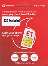 UK Vodafone SIM Card with £20 Credit preloaded, 4G Data, Voice mins and Texts to use in Europe and The UK