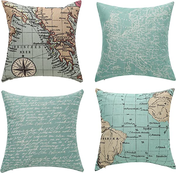 Uther Throw Pillow Covers Decorative Pillowcase For Home Sofa Bedding Couch Cotton Linen Map Pillow Covers 18 X 18 Inch Set Of 4