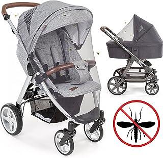 Mosquitera / Red antiinsectos universal para capazo, silla de paseo y cuna de viaje   Protección ideal contra picaduras, resistente, con goma elástica y lavable   Color gris