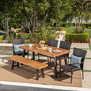 Christopher Knight Home Salla   6 Piece Outdoor Acacia Wood Dining Set with Wicker Stacking Chairs   in Multibrown with Teak Finish