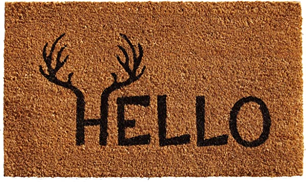 Calloway Mills 121711729 Antler Hello Doormat 17 X 29 Natural Black