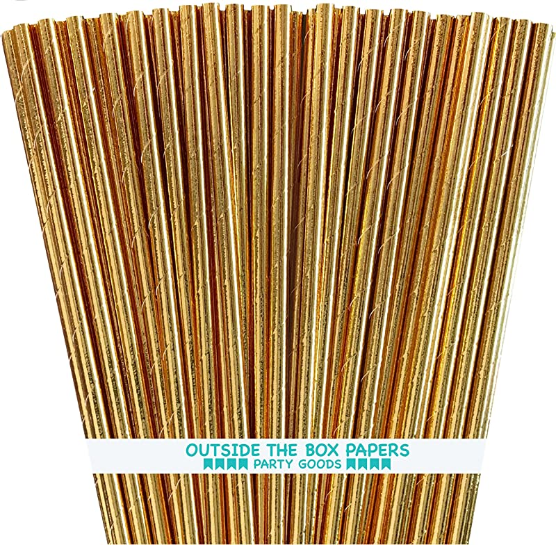 Gold Foil Paper Straws 7 75 Inches Pack Of 100 Outside The Box Papers Brand