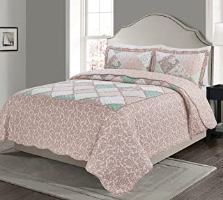 Blissful Living Luxury Ruffle Quilt Set Including Shams - Lightweight and Soft for All Seasons, Available in Twin, Full/Queen and King Size (Full/Queen, Isabela Pink)