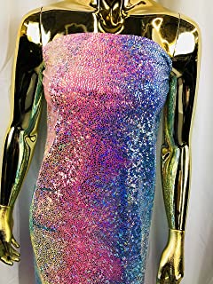 Lycra Spandex Fabric - Pink - Iridescent 4 Way Stretch Foil Metallic 60
