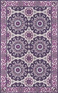 Momeni Rugs SUZHKSZI-1PUR2030 Suzani Hooks Collection, 100% Wool Hand Hooked Traditional Area Rug, 2' x 3', Purple