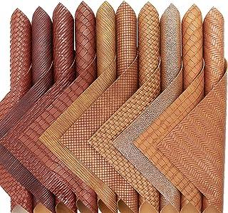 ZAIONE 10 pcs/Set ImitatedRattan Woven Faux Leather Sheets 8'' x 12'' A4 Mixed Bundle Knitting Leather Striped Leatherett...