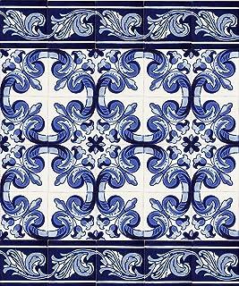 comprar comparacion Mariposa - 30 Azulejos mexicanos 10x10 cm - Baldosas de cerámica artesanal de Talavera para baños, ducha, escaleras, pared...