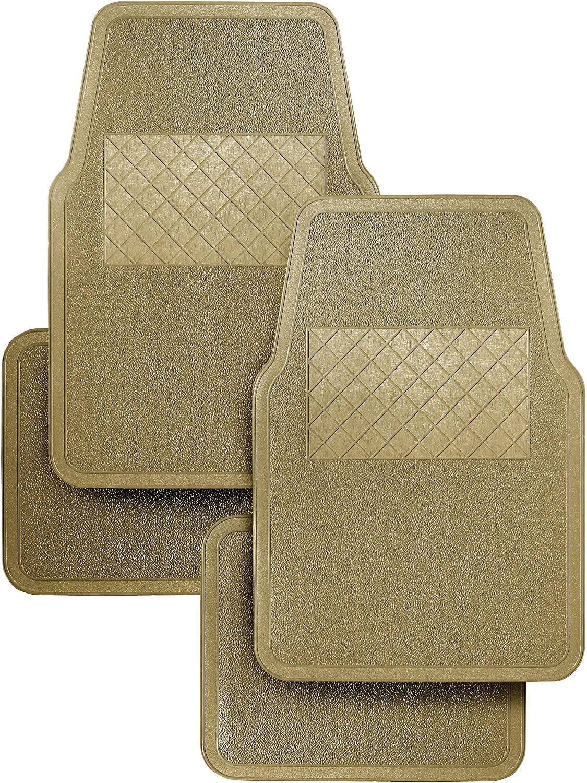 Front + Rear RoadWear Automotive All Weather Vinyl Floor Mats: 4 Piece Set Tan Universal Fit