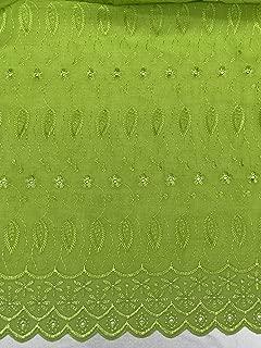 Daisy & Leaf Embroidery Eyelet Fabric by The Yard (Avocado Green)