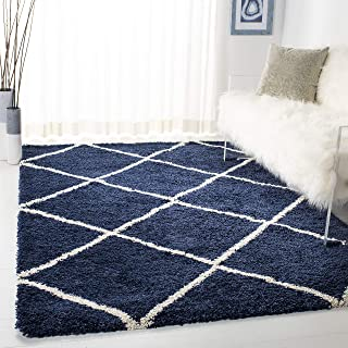 Safavieh Hudson Shag Collection SGH281C Navy and Ivory Moroccan Diamond Trellis Area Rug..