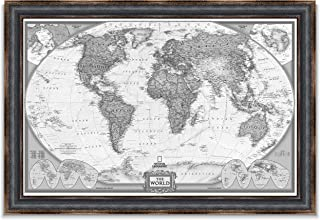 World Travel Map Wall Art Collection Executive National Geographic World Travel Map Fine Giclee Prints Framed Wall Art with Push Pin, Ready to Hang, 24X36, White Black Leather