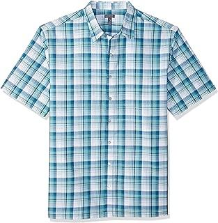 Men's Big and Tall Air Short Sleeve Button Down Plaid Shirt