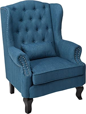 Amazoncom Tall Wingback Tufted Velvet Accent Chair Vintage Club