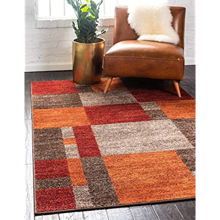 Unique Loom Autumn Collection Checkered Abstract Casual Warm Toned Multi Area Rug 2 0 X 3 0 Furniture Decor