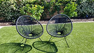 Indoor Outdoor Acapulco Woven Lounge Chair, All-Weather Patio Pear Shaped Weave Chair,Black,2 Piece Set