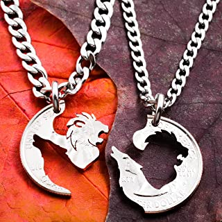 Lion and Wolf Couples Necklaces, Best Friends or Couples Jewelry, BFF Gift, Interlocking hand cut coin, By Namecoins